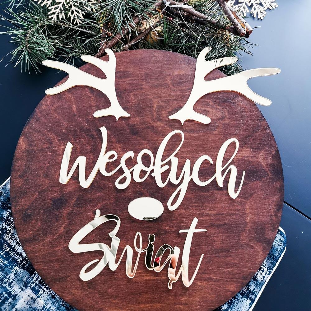 dekoracja świąteczna złoty renifer