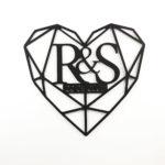 inicjały weselne geometryczne serce