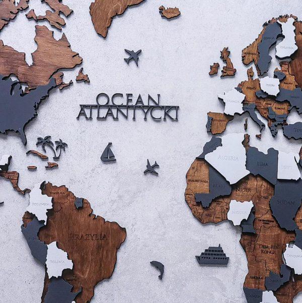 drewniana mapa świata 3d duża