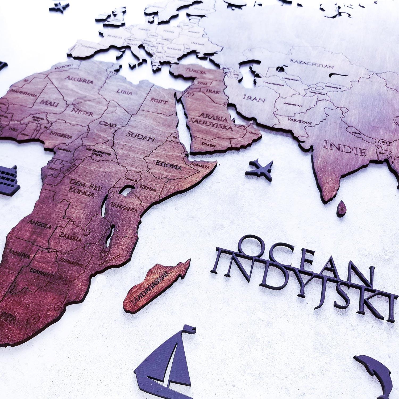 drewniana mapa świata 2d duża